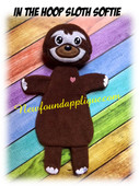 In The Hoop Sloth Softie Stuffed Toy Embroidery Machine Design