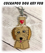 In the Hoop Cockapoo Dog Head Key Fob Embroidery Machine Design