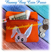 In The Hoop Bunny Boy Coin Purse /Ear Bud Case Embroidery Machine Design