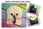 In The Hoop Cheer Silhouette Coin Purse Embroidery Machine Design