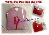 In The Hoop Figure Skate Coin Purse Embroidery Machine Design