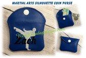 In The Hoop Martial Arts Silhouette Coin Purse Embroidery Machine Design