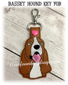 In the Hoop Basset Hound Dog Head Key Fob Embroidery Machine Design