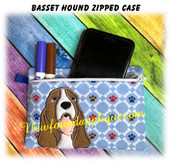 In The Hoop Basset Hound Zipped Case Embroidery Machine Design