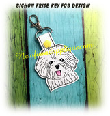 In The Hoop Bichon Frise Key Fob Embroidery Machine Design