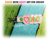 In The Hoop Dance With Heart Key Fob Embroidery Machine Design