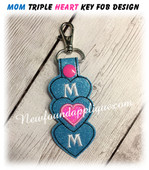 In The Hoop Mom Triple Heart Key Fob Embroidery Machine Design