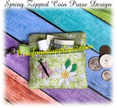 In The Hoop Spring Zipped Coin Purse Embroidery Machine Design