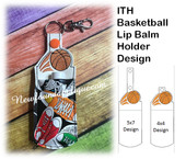 In The Hoop Basketball Lip Balm Holder Piece Embroidery Machine Design