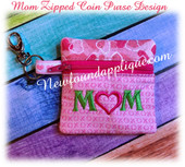 In the Hoop Mom  Zipped Coin Purse Embroidery Machine Design