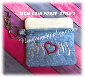 In the Hoop Mom Zipped Coin Purse 2 Embroidery Machine Design