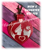 In The Hoop Mother And Daughter Key Fob Embroidery Machine Design
