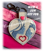 In The Hoop Mother And Son Key Fob Embroidery Machine Design