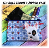 In The Hoop Bull Terrier Zipped Case Embroidery Machine Design