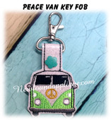 In The Hoop Peace Van Key Fob Embroidery Machine Design