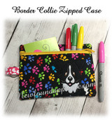 In The Hoop Border Collie Zipped Case Embroidery Machine Design