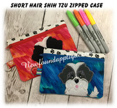 In The Hoop Short Hair Shih Tzu Zipped Case EMbroidery Machine Design