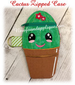 In The Hoop Cactus Zipped Case Embroidery Machine Design