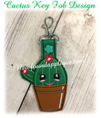 In the hoop Cactus Key Fob Embroidery Machine Design