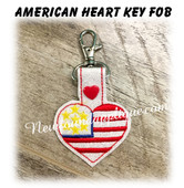 In The Hoop American Heart Snap Tab Key Fob Emboridery Machine Design