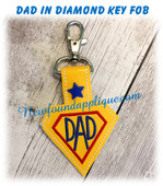In The Hoop DAD In A Diamond Snap Tab Key Fob EMbroidery Machine Design