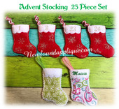 In The Hoop Stocking Advent Countdown Embroidery Machine Design Set