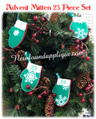 In The Hoop Mitten Advent Countdown Embroidery Machine Design Set