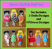 In the hoop Old Fashioned Dress up Doll embroidery machine Design Set