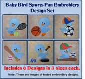 Baby Bird Sports Fan Embroidery Set