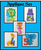 Animals With Numbers Applique Set