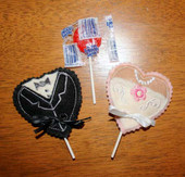 Bride and Groom Heart Lollipop Holders