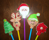 Christmas Pencil Topper Embroidery In the Hoop Design Set