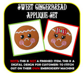 Gingerbread Face Applique Set