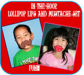 Lollipop Lips and Mustache In the Hoop Design
