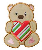 Valentine Bear Holding Heart Applique Design