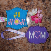 In The Hoop Bag Tag Mom Embroidery Machine Design Set