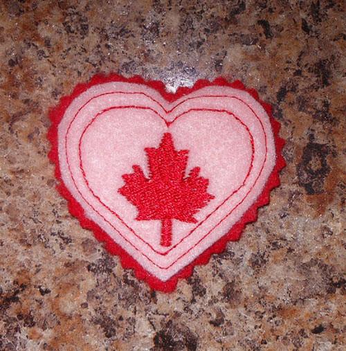 In the hoop canadian heart feltie embroidery machine