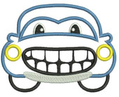 Happy Boy Car applique Embroidery Machine Design