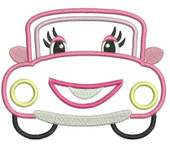 Happy Car Applique Embroidery Machine Design