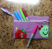 In The Hoop Pencil Case Monster Girls Embroidery Machine Design