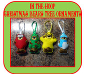 In The Hoop Christmas Bear Tree Ornament Embroidery Machine Designs