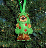 In The Hoop Christmas Bear Ornament Tree Decoration Embroidery Machine Design