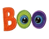 Boo Applique With Eyes Embroidery Machine Design