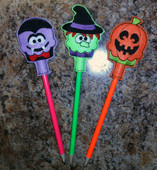 In The Hoop Halloween Pencil Toppers Set 2 Embroidery Machine Designs