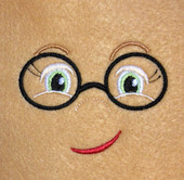 Doll Face Girl with Round Glasses Embroidery Machine Design