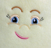 Doll Face Girl with crooked smile Embroidery Machine Design