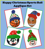 Happy Christmas Sports Ball Applique Embroidery Machine Desing Set