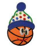 Happy Christmas Basketball Applique Embroidery Machine Design
