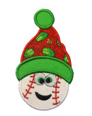 Happy Christmas Baseball Applique Embroidery Machine Design
