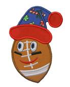 Happy Christmas Football Applique Embroidery Machine Design